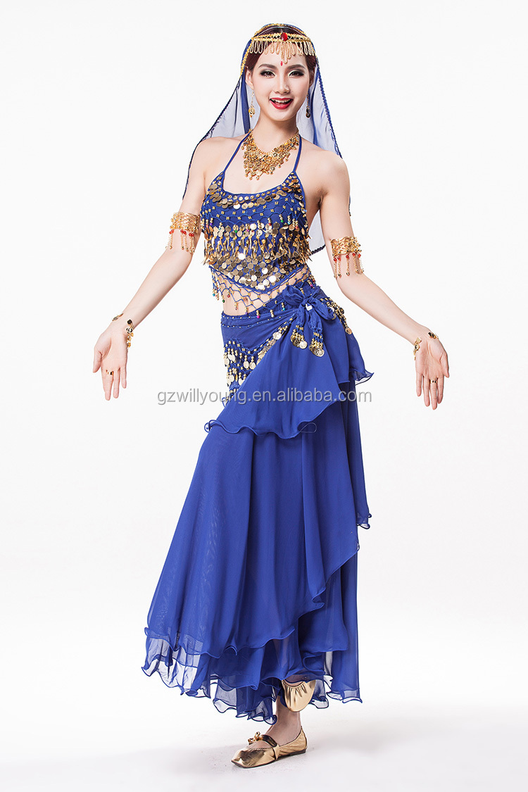 Professional Cheap Indian Belly Dance Costumes Top & Skirt 7pcs/unit