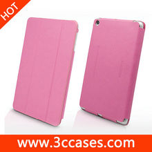 Rose frame high quality leather case for ipad mini, ultra-thin folding leather case for ipad mini