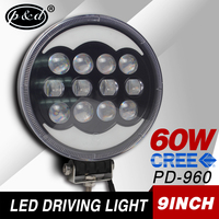 Auto lighting car replacements driving spot light round halo ring 9 inch 60w led driving light