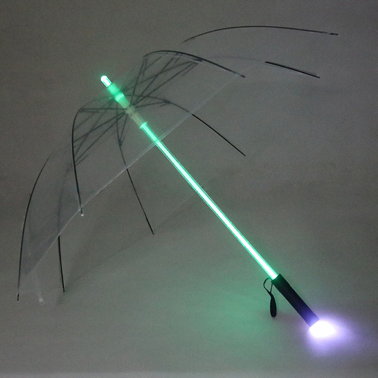 Night Flash 7 Colors Handle LED Light Transparent Flying Umbrella