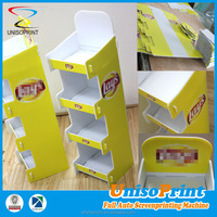 printed promotion trade show preserved mutton and egg noodles store display,pop up cardboard Yogurt plain display stand