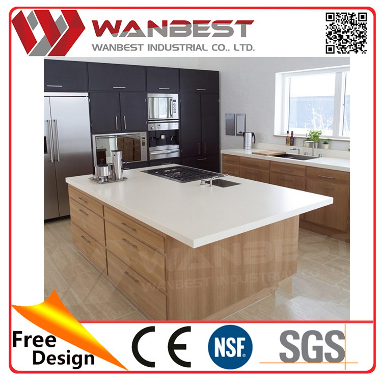 Wanbest high quality snow white quartz stone kitchen Faux Marble Acrylic Kitchen Table Sets counter top