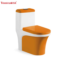 fashionable yellow colored sanitary ware ceramic one piece toilet for bathroom