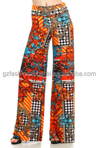 china 2016 new products print palazzo pants cutting of ladies trousers