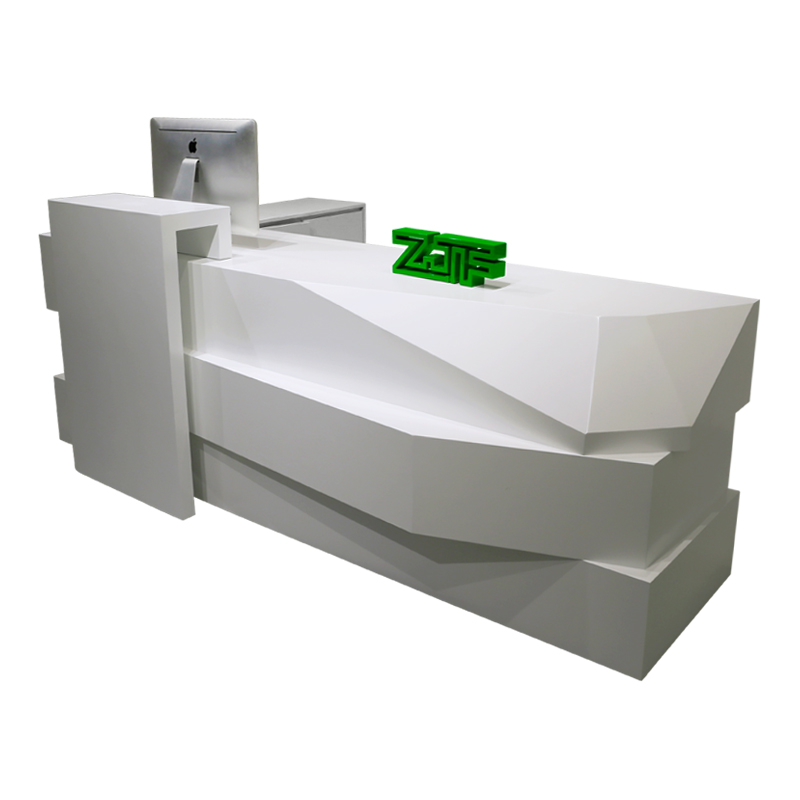 8ft modern white lacquered reception counter L shaped beauty salon wooden reception desk