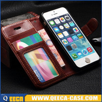 Luxury leather folio case for iphone 5 5s flip wallet case