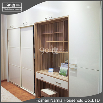 simple aluminum handle lacquer sliding door wardrobe