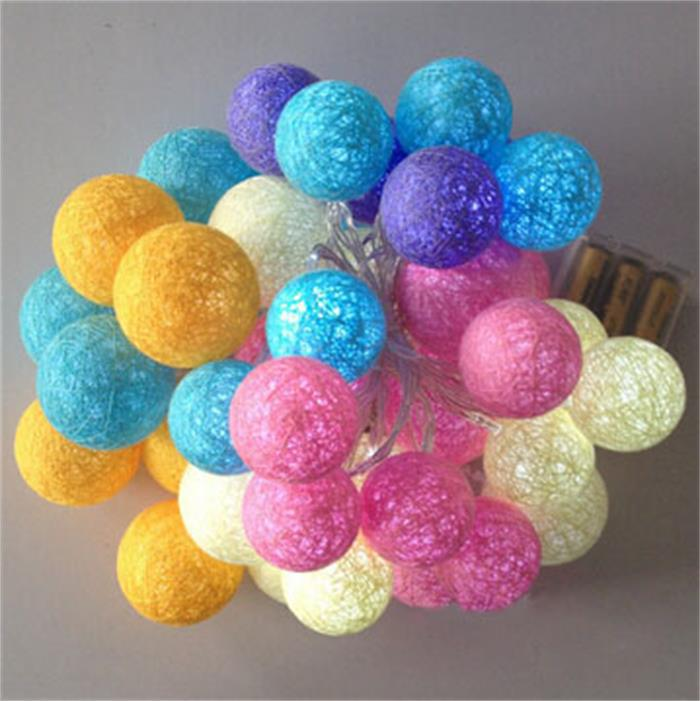 party light RGBY cotton ball fairy string battery powered light