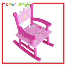 Princess wooden rocking chair with arms for kids