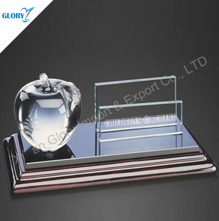 Business Place Crystal Card Holder with Crystal Apple