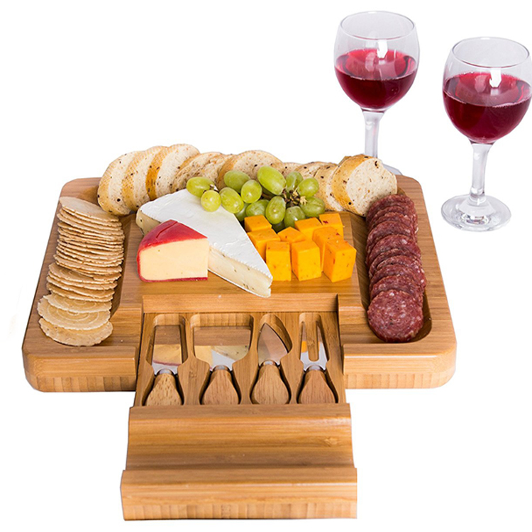 High quality wholesale bamboo cutting cheese board with 4 knives tools set