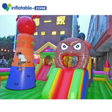 Funny bear inflatable bouncer commerical jumping castle with slide for kids play