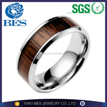 High Polished Titanium Ring with KOA Wood Inlay 316l stainless steel Men's Ring