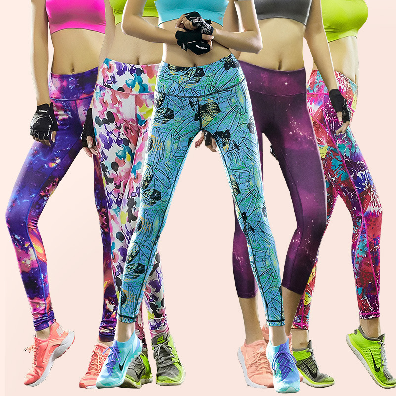 New Design gradient color skinny pants yoga wear women sport running legging