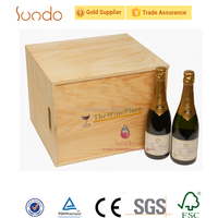 unfinished natural wooden wine packaging case