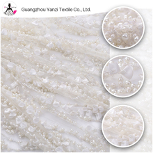 Royal luxurious pearl design princess bridal embroidery handwork heavy beaded lace fabric