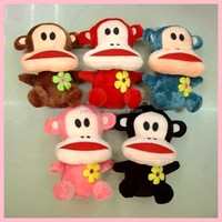 huning plush toy /plush animals / lovely monkey with flower