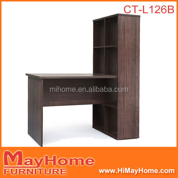Hot sale item functional wooden study table with bookcase