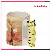 Eco-friendly ceramic animal mug cup for printing with Tiger