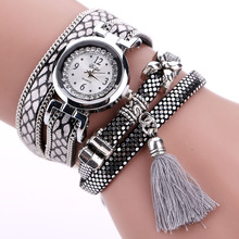 Duoya Brand Fashion Watch Women Classic Bracelet Silver Original Design Tassel Pendant Wristwatches Leather Vintage Quartz Watch