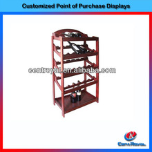 Antique decorative floor wood wine display rack from china supplier