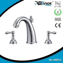 ABL Stainless steel Dual handles Bathroom Basin Faucet Deck Mount One Hole Vessel Mixer Tap