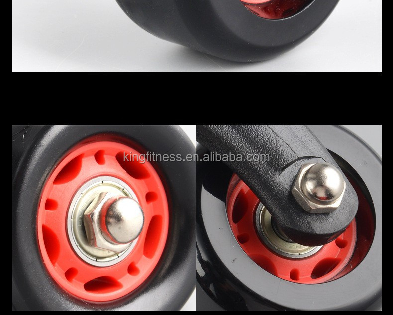 high quality 3 Wheel Triangular abdominal Ab Roller with Knee pad / Floor Stopper