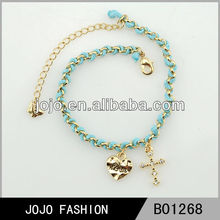 2014 gold charms jesus loves you bracelet,brazilian gold jewelry heart bracelet,diamond bracelet with cross