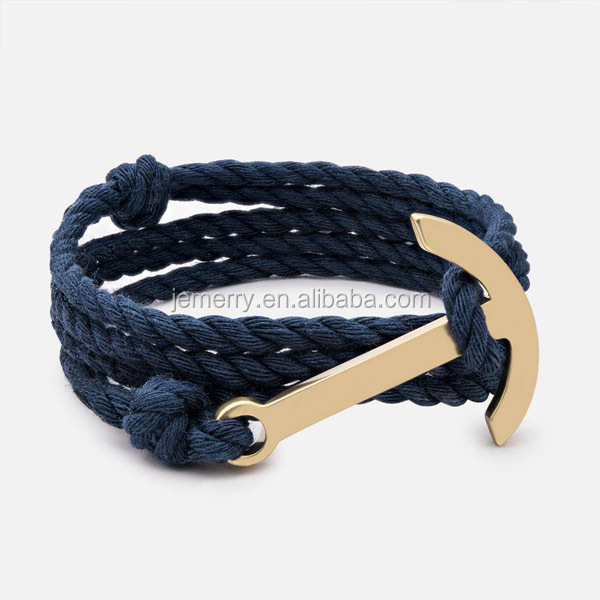 Custom Stainless Steel Charm Nautical Style Custom Hand Cotton Rope Anchor Sailor Knot Bracelet