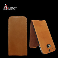 Hot sale first grain genuine leather flip cover case for htc