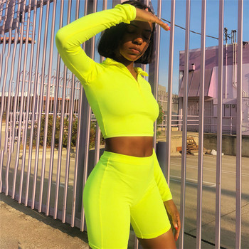 Female Fluorescence Fitness Two Pieces Sets Autumn Full Sleeve Zipper Turtleneck Tops And High Waist Shorts Suits Y10813