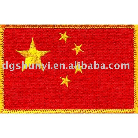 embroidered China flag in woven fabric