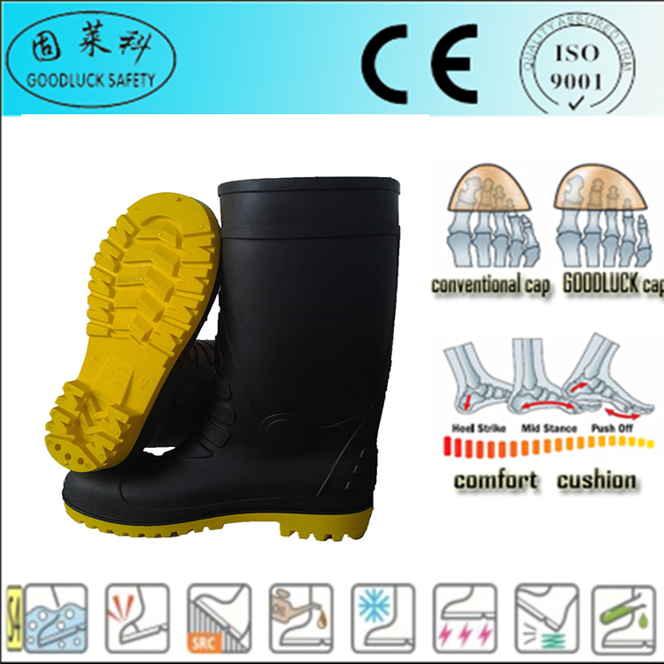 Chinese cheap high quality long boots for men safety working rain boots