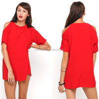 2014 womens red shoulder cutout dress pictures of types of clothes