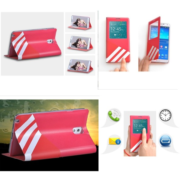 Big Window Design Leather Case for Samsung GALAXY Note 3 n9000 n9002
