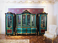 Antique Rococo Peacock Green Living Room Glass Display Cabinet/ Latest Design Decorative Wooden 4-Door Wine Cabinet