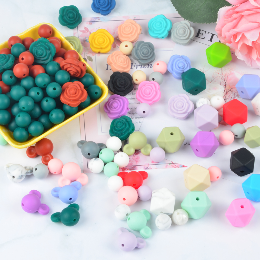 New Arrival Food 급 Baby 보석 Silicone Rubber 젖니 Beads 느슨한