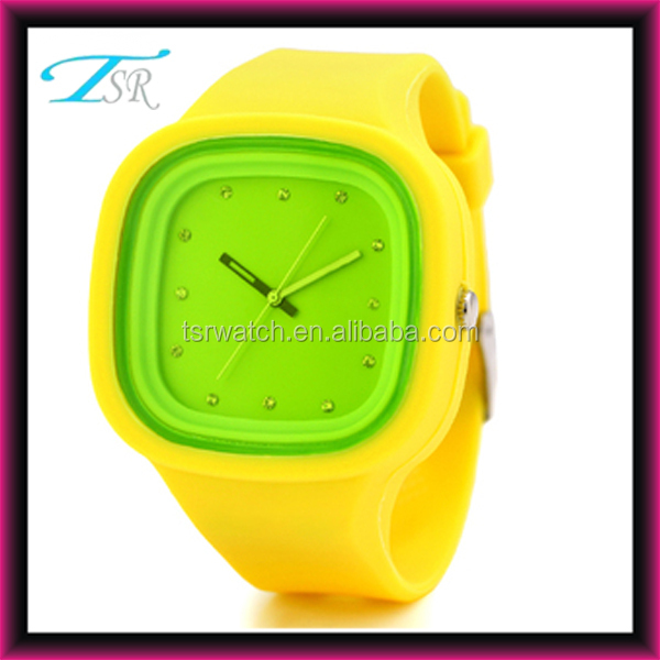 fashion silicone jelly candy wrist watch,square face jelly silicone rubber bands watch