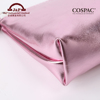 Customized Luxury Cosmetic Faux Leather Baby Pink Makeup Bag logo
