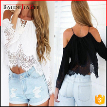 2017 Summer fashion lady designer bohemia lace sexy off shoulder t-shirt halter cropped loose chiffon women tops