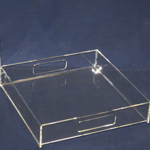Custom Lucite Acrylic Paper Insert Serving Tray, Factory Wholesale Perspex Plate Plastic Plexiglass Tray with lines