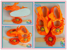 Baby Orange rosette crib shoes chevron elastic headbands with ribbbon ahabby flower Infant shoes set