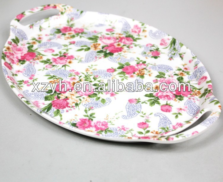 "13""oval shaped printed rose melamine tray with handles"