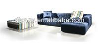Italian style blue fabric sofa (LS-104 E+G+J)