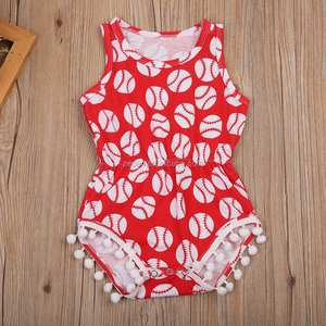 Wholesale the smart posh design for girl sleeveless romper in red color with baseballs pattern and pompom nice boutique jumpsuit