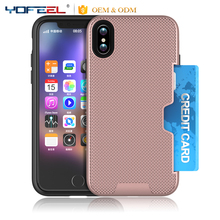 with credit card slot back cover phone case for iphone x, card slot case for iphone x
