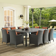 10 seater family gathering outdoor rattan dining chair and table cheap garden furniture sets