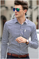 Men cultivating long-sleeved striped shirt