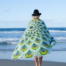 R5971 New Arrival Peacock printed Towel Beach Round