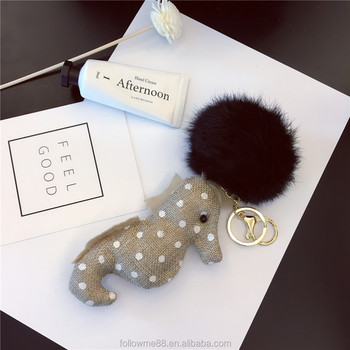 Hot sale Christmas elk/christmas tree shape with rex rabbit/ fox fur Key Ring Keychain for gifts FK044